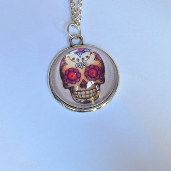 Long necklace with skull, skeleton old school Mexican skull