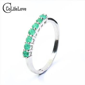 100% natural emerald ring solid 925 sterling silver emerald ring  2.5mm round natural emerald gemstones ring simple design ring
