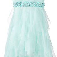 Rare Editions Big Girls' Mesh Dress with Sparkle Waist and High-Low Skirt, Mint, 7