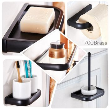 Luxuary Contemporary Bathroom Accessories Set, All-In-One Package, Towel Holder, Paper Holder, Oil Rubbed Bronze / Black, K8500