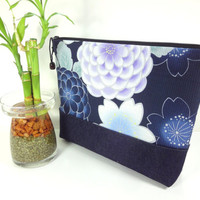 Handmade Cosmetic Bag, Gift For Her, Fabric Travel Pouch, Padded Cosmetic Pouch Japanese Kimono Cotton Fabric Chrysanthemum Navy