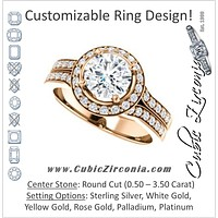 Cubic Zirconia Engagement Ring- The Ginny (Customizable Round Cut Halo Style with Accented Split-Band)
