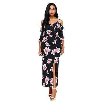 Black Cold Shoulder Floral Slit Maxi Dress