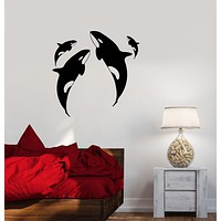 Vinyl Decal Whale Ocean Marine Animals Sea Wall Sticker Mural Unique Gift (ig2718)
