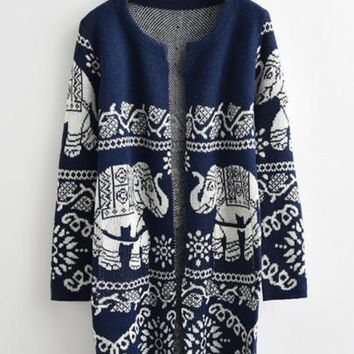 Tribal Elephant Cardigan - Navy & White