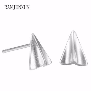 RANJUNXUN 2017 Punk charm jewelry exquisite 925 sterling silver paper airplane earrings for woman gift earrings D19