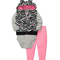 Product: Carter's® Baby Girls' Pink/Black 3-pc. Zebra Print Vest Set