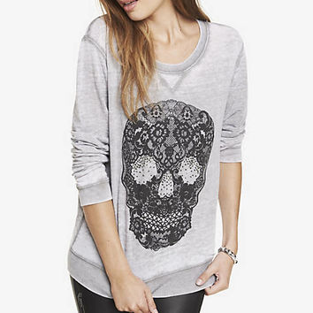 GRAPHIC BURNOUT SWEATSHIRT - LACE SKULL from EXPRESS