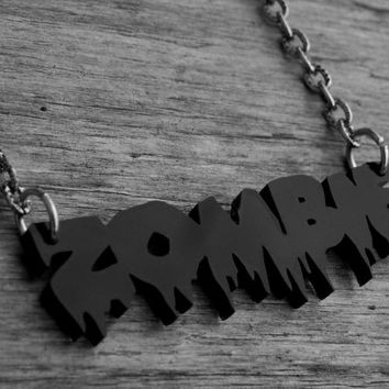 Black Zombie Necklace Zombie Jewelry Gothic Goth Rob Zombie Horror Punk Heavy Metal Acrylic Laser Cut Necklace Laser Cut Acrylic Jewelry