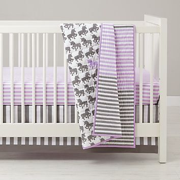 Purple & Grey Unicorn Baby Bedding | The Land of Nod