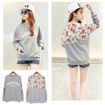 Chic Autumn Women's Cotton Loose Patchwork Hoodies Letter Sweatshirt Lace Stitching 3D Flowers = 1695679940
