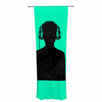 "BarmalisiRTB ""Black Music"" Turquoise Decorative Sheer Curtain"