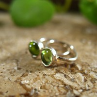 Little Hoop Earrings Gemstone Silver Peridot