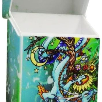 Women's Cigarette Case Lady Dragon Green Box with Push Up Lid Fits Regulars
