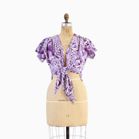 Vintage 50s Hawaiian TOP / 1950s Purple Cotton Tribal Print Tie Front Crop Top Bolero S - M
