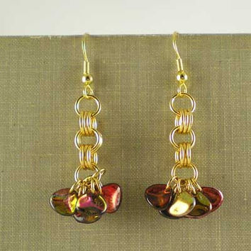 Shimmery Modern Dangle Drop Earrings Contemporary Style Burgundy, Copper & Green Glass Petal Beads Gold Plated UK Handmade 10028