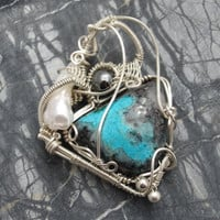 Silver Pendant Wire Wrapped in Sterling Silver with Chrysocolla Cab