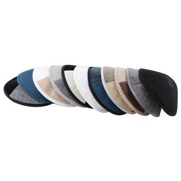 Velvet and Linen Kippah 18cm- with Pin Spot- Assorted Colors