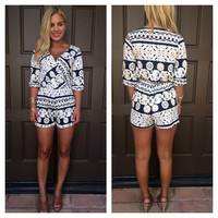 Brazilian Resort 3/4 Sleeve Romper