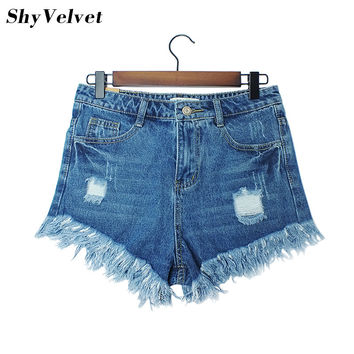 Hot sale / 2017 New Fashion women's jeans Summer Mid Waist  Denim Shorts Casual women Jeans Shorts Hole Shorts Hot Plus Size