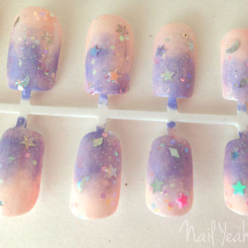 Lolita Fairy Kei Pastel Ombre Kawaii Full False Nail Set