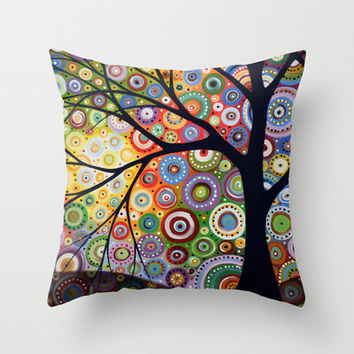 Abstract Landscape Original Painting...VISIONS OF NIGHT, by Amy Giacomelli Throw Pillow by Amy Giacomelli | Society6