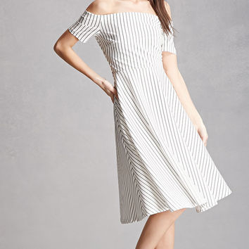 Striped Cross-Back Swing Dress
