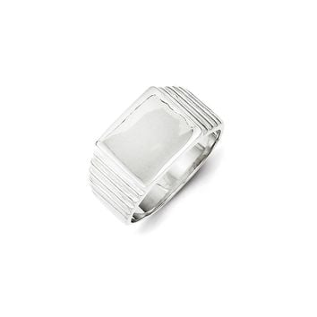 Grooved Sqaure Form Ring in 925 Sterling Silver