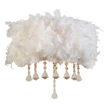 PLC Lighting 73045WHITE Peacock Polished Chrome Two-Light Wall Sconce with White Ostrich Feather Shade