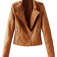Brown Stand Collar Zipper Detail Leather Look Jacket