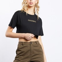 Embroidered Good Bye Crop Tee