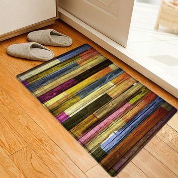 Colorful Wood Flooring Pattern Water Absorption Area Rug