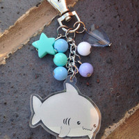 Kawaii shark bag charm cute pastel shark charm pastel goth fairy kei great white shark kawaii bag charm lolita