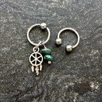 Dreamcatcher & Turquoise Stones - 18g 16g 14g CBR or Horseshoe Ring Cartilage Navel Nipple Captive Piercing
