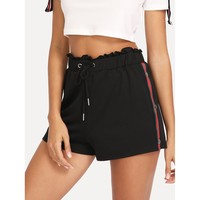 Buttoned Striped Side Ruffle Waist Sweat Shorts