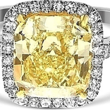 A Perfect 3.7CT Cushion Cut Canary Yellow Fancy Russian Lab Diamond Engagement Halo Ring