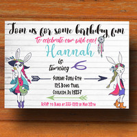 Bohemian party invitation - First birthday invitation - Boho birthday invitation - Personalized invitation -  Rustic birthday invitation