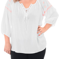 Plus Size Southwestern Orange Embroidered Blouse, Plus Size Clothing, Club Wear, Dresses, Tops, Sexy Trendy Plus Size Women Clothes