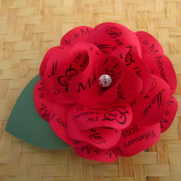 Red Invitation Paper Rose with Crystal Center for Wedding, Birthday  or Any Special Occasion Personalized Print, Magnet and Mailer