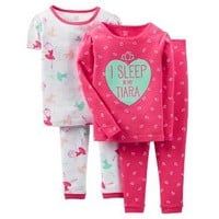 Baby Girls' 4-Piece Snug Fit Cotton Pajama Set Tiara - Pink - Just One You™ Made by Carter's®