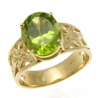 2.45CT 8X10MM GENUINE OVAL PERIDOT RING HAWAIIAN PLUMERIA SOLID 14K YELLOW GOLD