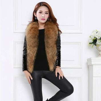 2017 New Womens Autumn Winter Warm Vest Ladies Faux Fur Turn-Down Collar Zipper Coat Jacket Elegant Caaual Cardigan Outwear