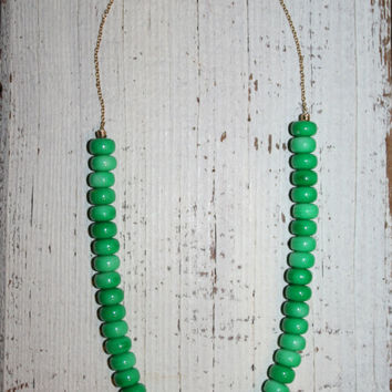 Green Necklace Green Bead Necklace St Patricks Day Green Jewelry Modern Contemporary Trendy Bead & Chain Single Strand Necklace