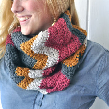Chevron Crochet Infinity Scarf - Rose, Gray, Honey, & Cream