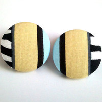 Zebra print nude and baby blue color block large button earrings