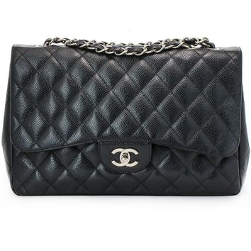 Chanel Jumbo Black Caviar Classic Flap Bag Silver Chain Strap