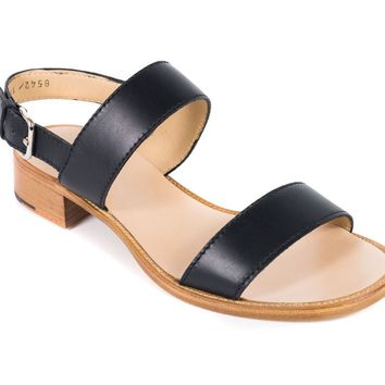 Church's Womens Black Leather Cross Strap Lisa Sandals