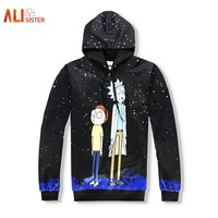 Alisister Black Hoodies Men Women Rick And Morty 3d Funny Hoodies With Hat Hip Hop Cartoon Print Tracksuit Hooded Tops Dropship