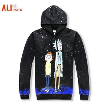 Alisister Black Hoodies Men Women 3d Funny Hoodies With Hat Hip Hop Cartoon Print Tracksuit Hooded Tops Dropship