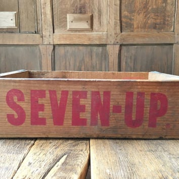 Vintage 7up Crate, Wood Soda Crate, Seven Up Crate, Rustic Home Decor, Vintage Home Decor